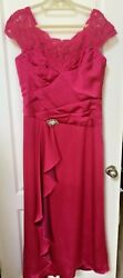 Jade Couture Size 16 Woman#x27;s Pink Sleeveless Lace Formal Evening Dress $19.95