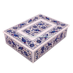 Marble Designer Jewelry Box Lapis Birds Inlay Floral Arts Occasional Gifts M088