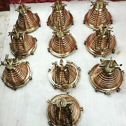 Nautical New Wiska Copper And Brass Fluted Cargo Pendant Hanging Light 10 Piece