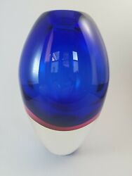 Flavio Poli 1950s Murano Sommerso Vase 8h Clear Over Layered Blue And Pink