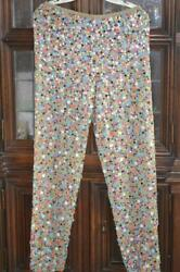 Vintage 1980and039s Made In India Pure Silk Beaded Sequined Pants Sz. Medium Mint