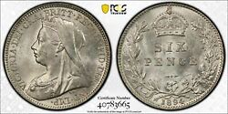1894 Great Britain 6 Pence Sixpence Pcgs Ms63 Lotg488 Choice Unc