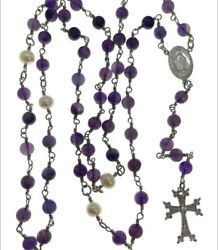 925 Sterling Silver Purple Jade Beaded Rosary Necklace Natural Healing Crystal