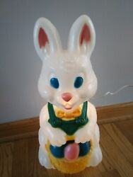 Nice Blow Mold Bunny With Basket Of Eggs Lights Up 18 Tall Yard Easter General