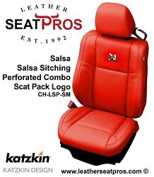 Leather Seat Covers 2015-2021 Dodge Challenger Salsa Red Scat Pack Logo Perfed