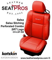 Leather Seat Covers 2015-2021 Dodge Challenger Salsa Red White Perfed Srt Logo