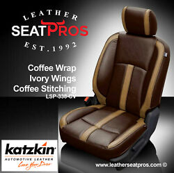 Leather Seat Covers Kit 13-18 Dodge Ram Crew Quad Cab Canyon Brown Ivory Coffee
