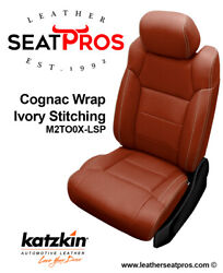 Leather Seat Covers 14-21 Toyota Tundra Crewmax Crew Double Cab Cognac Ivory