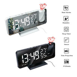 LED Digital Projection Alarm Clock Time Projector Temperature Humidity Monitor