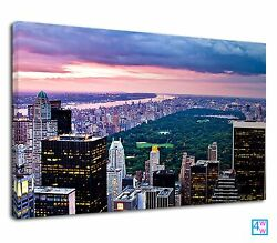 New York City Evening And Rockefeller Plaza Canvas Print Wall Art Picture GBP 38.99