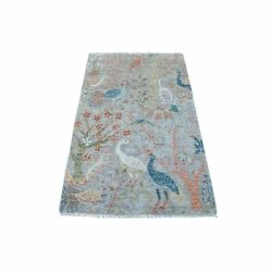 3'x5' Pure Wool Hand Knotted Gray Peshawar Birds Of Paradise Oriental Rug R67061