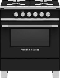 Fisher And Paykel Or30scg4b1 Classic Series 30 Inch Natural Gas Range In Black