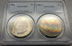 1889 And 1882-s Morgan Dollars Pcgs Ms62 Double Holder Rainbow Toned Beauties