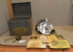 Porter Cable Speedmatic No 75 Circular Saw 1950's Metal Case And Extra Tool Lot S2
