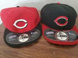 2 Cincinnati Reds Mlb Authentic New Era 59fifty Fitted Cap Black/red On Field