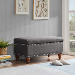 Quincy 35 Storage Ottoman Bench With Bun Legs 4 Colors
