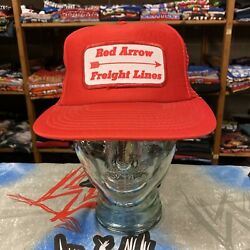 Red Arrow Freight Lines Patch Baseball Trucker Mesh Cap Hat Snapback Red