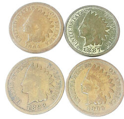 Four Indian Head Cents 1864, 1887, 1893 And 1909 Penny Coins  Mg