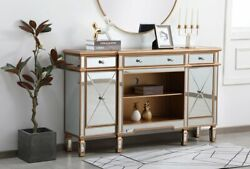 Mirrored Tv Stand Storage Combo Cabinet Antique Gold Living Dining Room 60 X 36