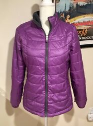 Women's Free Country Puffer Jacket Large Plum Size Large Lightweight Nylon/poly