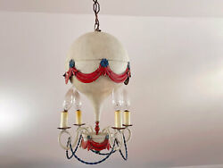 Circa 1940's Vintage French Of Tole Hot Air Balloon Chandelier