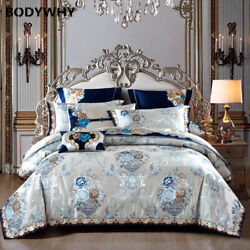 King Size Double Set Silk Satin Cotton Luxury Bed Cover Quilt Cover Pillow Cover