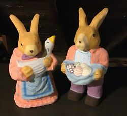 Vintage Mr And Mrs Peter Cottontail Paper Mache Easter Bunny Rabbits - Large 20