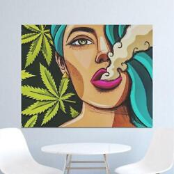 Art Girl Smoking Weed Wall Art Picture Canvas Painting Poster Wall Pictures New