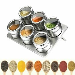 Magnetic Spice Jars Stainless Steel Salt Pepper Storage Tins Rack Box Container