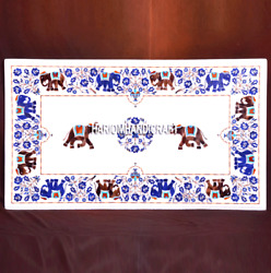 Decorative White Marble Rare Dining Table Tops Lapis Elephant Inlaid Stone H3675