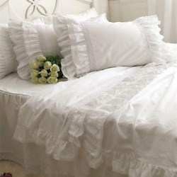 Embroidery Lace Duvet Cover Ruffle Craft Cake Layers Bedding Bedspread Bed Sheet