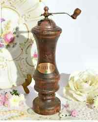 Collectibles Antique Vintage Pepper Mill Bronze Home Wood Kitchen Germany 1930