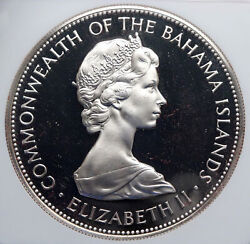 1972 Bahamas Queen Huge Pirate Defeat Motto Vintage Silver 5 Coin Ngc I89241