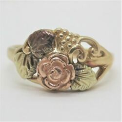 10k Yellow And Black Hills Gold Rose Grapes Leaves Design Fashion Ring Size 6 1/4