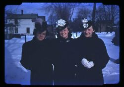 35mm Slide 1940s Red Border Kodachrome Pretty Woman In Winter Coats And Hats
