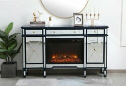 Mirrored Tv Stand Faux Logs Fireplace Insert Combo Cabinet Credenza Blue 60 X 36
