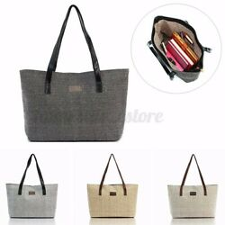 Women Canvas Shoulder Bag Large Handbag Tote Girls Shopping Satchel Travel Tote $12.89