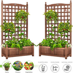 2pcs 48and039and039 Wood Planter Box Weather-resistant Garden Yard Raised Bed W/ Trellis