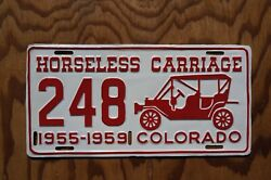 1955 - 1959 Colorado First Issue Horseless Carriage Antique Auto License Plate