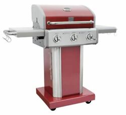 Kenmore 3 Burner Pedestal Red Grill Out Door Cooking Grills Propane Gas Barbeque