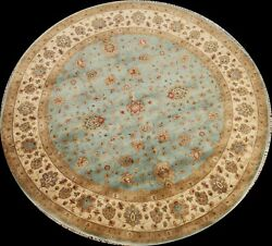 Light Blue Vegetable Dye Fine Agra Oriental Area Rug Hand-knotted Wool 8x8 Round