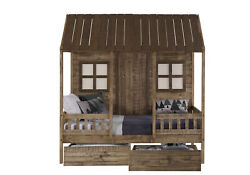 Twin Front Porch Low Loft In Rustic Driftwood Finish W/dual Underbed Drawers