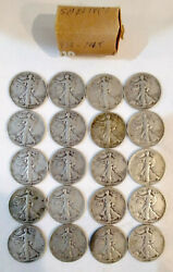 Roll Of Walking Liberty Half Dollars 20 Fifty Cent Coins 1939 To 1945 Mg