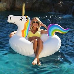 Gofloats Unicorn Pool Float Party Tube Float-in Style For Adults And Kids, Whi