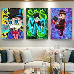 Abstract Canvas Painting Poster Alec Monopoly Red Chair Cartoon Art Posters
