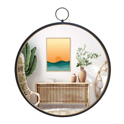 RiteSune Black Mirrors for Wall Decor Brushed Metal Frame Round Wall Mirror for