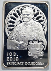 2010 Andorra Pope John Paul Ii Vintage Proof Silver 10 Diners Coin Ngc I89231