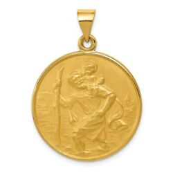 18k Yellow Gold Round St. Christopher Medal Pendant 25mm 1 Inch
