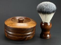 Handcrafted Wooden Shaving Mug Bowl With Lid For Soap Cream Brush Set