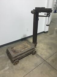 Antique 1867 Howe Industrial Platform Scale By Brandon Manufacturing Co.